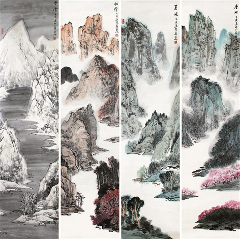 山水 in 4 parts by ya ming