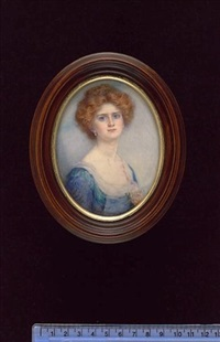 miss horton, with auburn hair, wearing blue dress with white underslip and pink rose at her corsage and drop pearl earrings by gertrude massey