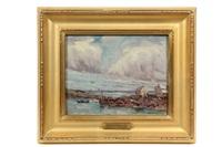 monhegan wharf, 1908 by henry rodman kenyon
