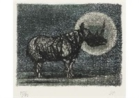 moon and rhinoceros by matazo kayama
