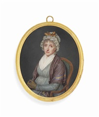 madelaine bouvier née le double (1731-1810), the artist's mother, seated on a green upholstered chair, in grey dress, white fichu, lilac shawl with red... by pierre louis bouvier