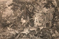 das paradies oder die schöpfung und der sündenfall des ersten menschenpaares (12 works) by johann elias ridinger