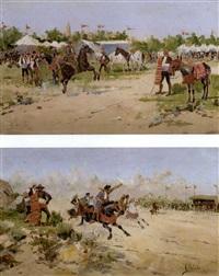 feria de sevilla and carreras de caballos, andalucia (pair, view of horsefairs in seville and andalucia) by mariano obiols delgado