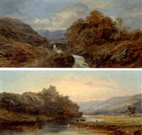 a river scene with cattle grazing and a castle beyond at sunset (+ an upland river scene with mountains beyond; pair) by william mcevoy