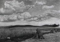 a landscape with a cornfield by albijn van der abeele