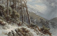 a wintry mountainous landscape with a horseman on a path by james waltham curtis