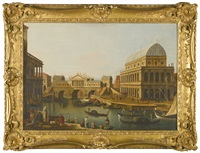 a capriccio with a palladian design for the rialto bridge, and palladio's basilica at vicenza by canaletto
