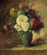 a still life of chrysanthemums by fleury