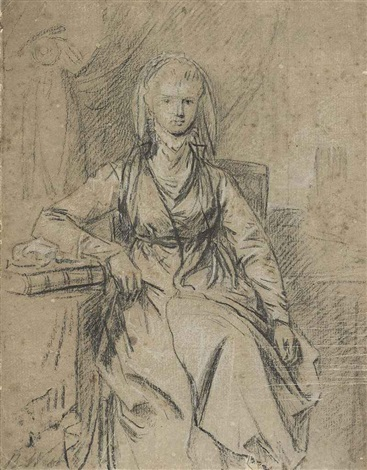 portrait study of mrs shute barrington d 1807 three quarter length seated with her elbow resting on a book by benjamin west