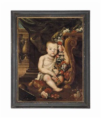 a young child with a swag of flowers by a table on a terrace by franz werner von tamm