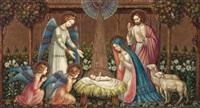 heilige familie mit engeln und schafen by albert figel