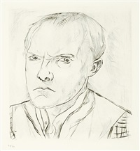 selbstbildnis. - familienszene, familie beckmann, pl.1 & 2 (2 works from gesichter) (+ 4 others; 6 works) by max beckmann