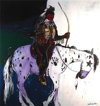 chief red face on horseback by santiago pérez