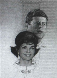 magazine cover: john f. kennedy and jackie by richard amsel