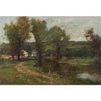 farmhouse along a river by charles linford