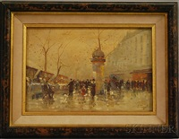parisian sidewalk scene by armand fouquet