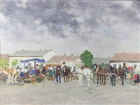 scene with horses and carriages by josef csillag