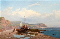 coastal scene with beached fishing boat by william (of plymouth) williams