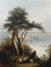 a figure leaning on a treetrunk with boats in an estuary beyond by william (of plymouth) williams