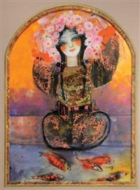 la dame aux fleurs et aux poissons rouges by nasser ovissi