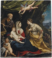 the holy family, with saint margaret and the infant saint john the baptist by francesco giovanni gessi