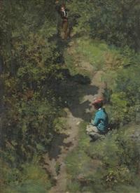 deux enfants sur un chemin dans une forêt by pierre billet