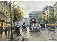 a parisian street scene by antoine blanchard