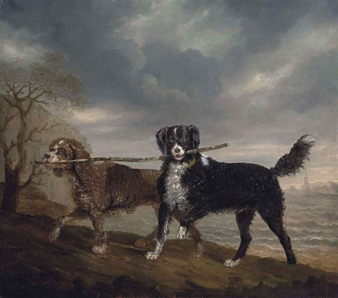 """mrs. orby hunter's spaniels, """"diver"""" and """"shuckleback"""", by the sea by benjamin marshall"""