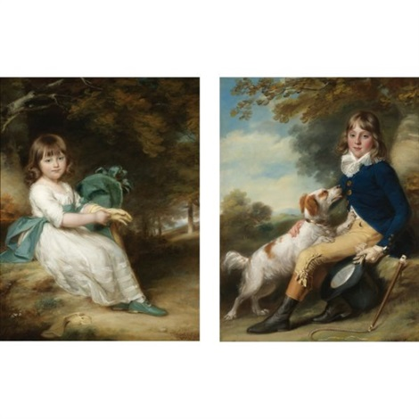 portrait of mary sheppard portrait of thomas sheppard pair by john russell