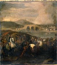 scontro tra cavalieri turchi e cristiani by andrea di leone
