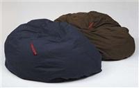 happy sack - dark blue (+ happy sack - chocolate brown; 2 works) by angela bulloch