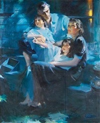 family sitting on back porch, watching stars (illus. for ladies' home journal) by rico tomaso