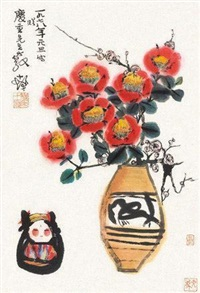 瓶花图 by cheng shifa
