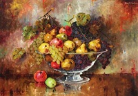 still life with pears, apples and grapes in a glass bowl by carl h. fischer