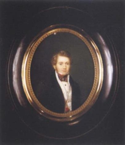 un jeune homme en redingote brune à col de velours gilet crème à pois cravate by joseph philippe oorloft