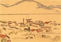 village en bord de lac by jean de brunhoff