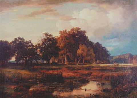 extensive country landscape by adolf friedrich vollmer