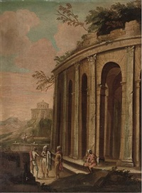 a landscape with orientals by a classical ruin, travellers beyond by jan de momper