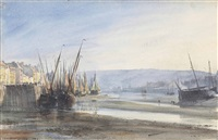 boats moored at dieppe harbour: low tide by edward william cooke