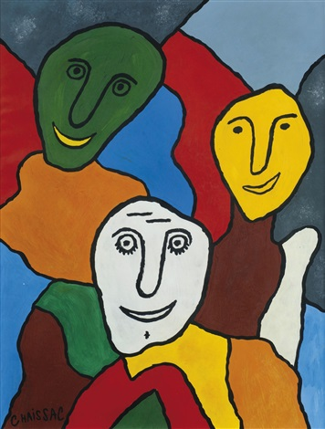 Composition trois t tes aux visages souriants by gaston for Chaissac gaston