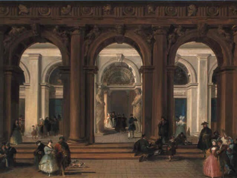 the entrance to the biblioteca marciana venice by giuseppe bernardino bison