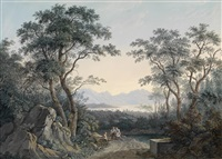 landschaft mit blick auf einen see aus einem wäldchen by matthias rudolf toma