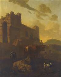 cows and sheep at rest beside classical ruins by jacob van der does the elder