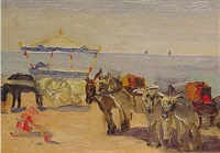 donkey carts on the beach: yorkshire, england by elizabeth campbell fisher-clay