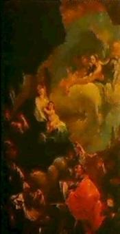 sacra conversazione, maria, von den heiligen georg,     franziskus, petrus und paulus verehrt by josef ignaz mildorfer