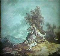 et kobbel hunde angriber en kronhjort by johanne marie (mme. westengaard) fosie