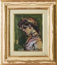 ritratto femminile - female portrait by mino maccari