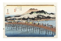 two oban yoko-e prints by ando hiroshige