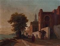 fontaine et mosquée (maroc) by françois antoine bossuet