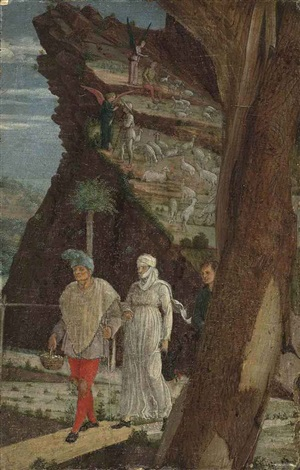 the annunciation to the shepherds fragment by andrea mantegna
